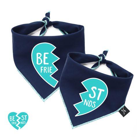 Best Friends Locket Dog Bandanas Set Of 2 Bandanas Blue Ripley Rue Dog Bandana Plaid Dog Bandana Dog Clothes