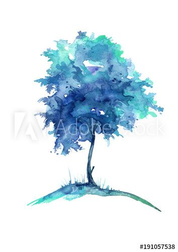 Watercolor Blue Tree Isolated On White Background Vintage Drawing