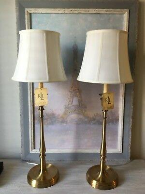 2 New Ralph Lauren Brass Gold Darien Candlestick Table Lamps