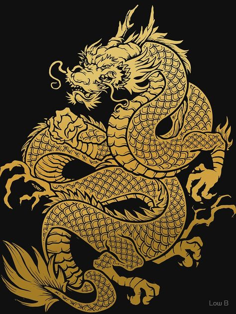 Traditional Asian Golden Dragon Essential T-shirt by Low B