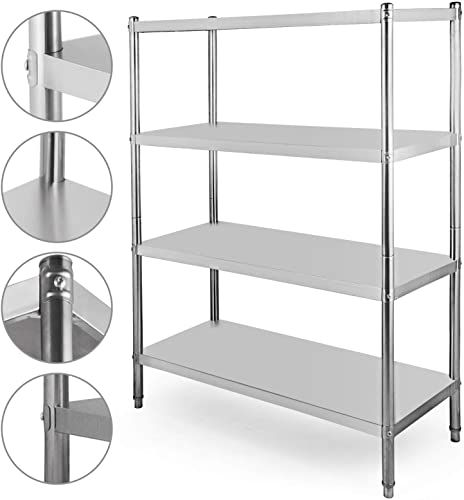 Shop For Happybuy Stainless Steel Shelving 47x18 5x60 Inch 4 Tier Stainless Steel Shelving Unit Shelving Units Storage Heavy Duty Shelf Kitchen Commercial Offic In 2020 Stainless Steel Shelving Steel Shelving Unit