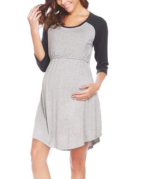 3d54a0644ebe8 Ekouaer Women s Maternity Dress Nursing Nightgown for Breastfeeding  Nightshirt Sleepwear S-XL Color  Black