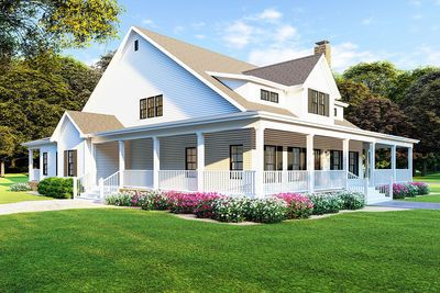 Plan 70608mk Modern Farmhouse Plan With Wraparound Porch Farmhouse Style House Farmhouse Floor Plans Modern Farmhouse Plans