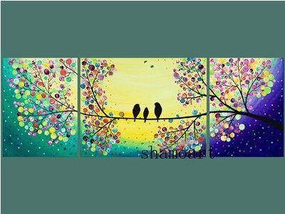 48 Large Birds Art Rainbow Color Acrylic Landscape Painting Wall Decor Canvas Beautiful Day By Qiqigallery Simple