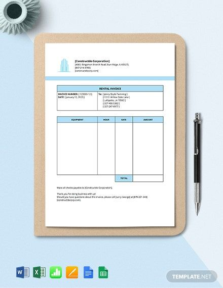 Equipment Rental Invoice Template Free Pdf Word Excel Apple Pages Google Docs Google Sheets Apple Numbers Invoice Template Rental Agreement Templates Templates