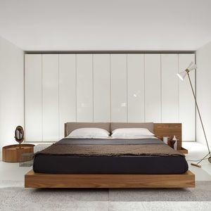 Lit Double Contemporain Avec Tete De Lit Avec Tables De Chevet Integrees Bed Furniture Bed Contemporary Bed