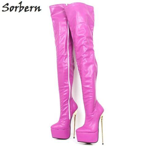 Sorbern Hot Pink Matt Extreme Heels Exotic Dancer Shoes Crotch Thigh High Boots 22Cm/6Cm Platform Shoes Multi Colors Metal Heels