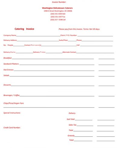 Catering Invoice Samples Encouraged In Order To Our Weblog In
