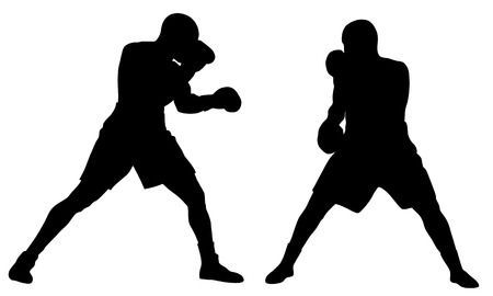 Abstract Vector Illustration Of Boxing Men Silhouettes Vector Illustration Illustration Silhouette Vector