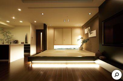 畳スペースを広げるとともに段差を設け 小上がり和室に 印象的な間接