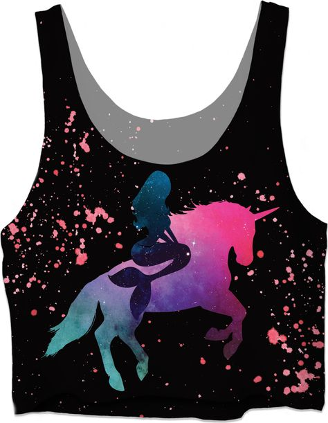 Mermaid riding a Unicorn on black background Crop Top