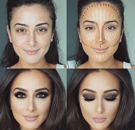 Konturieren, Hervorheben und Backen in Ihrem Make-up - Makeup Contour Highlighter Makeup, Skin Makeup, Makeup Brushes, Highlighters, Cat Makeup, Eye Brushes, Body Makeup, Makeup Set, Blush Makeup