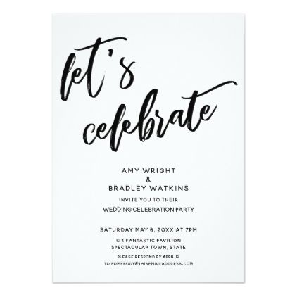 Handwriting Let S Celebrate Wedding Reception Invitation