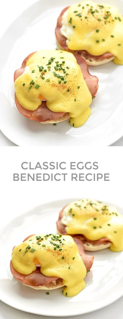 Classic Eggs Benedict, topped with homemade Hollandaise, is an over-the-top start to the day. Rise and shine! Breakfast Dishes, Breakfast Time, Breakfast Recipes, Mexican Breakfast, Breakfast Sandwiches, Breakfast Pizza, Figs Breakfast, Easy Eggs Benedict, Eggs Benedict Recipe