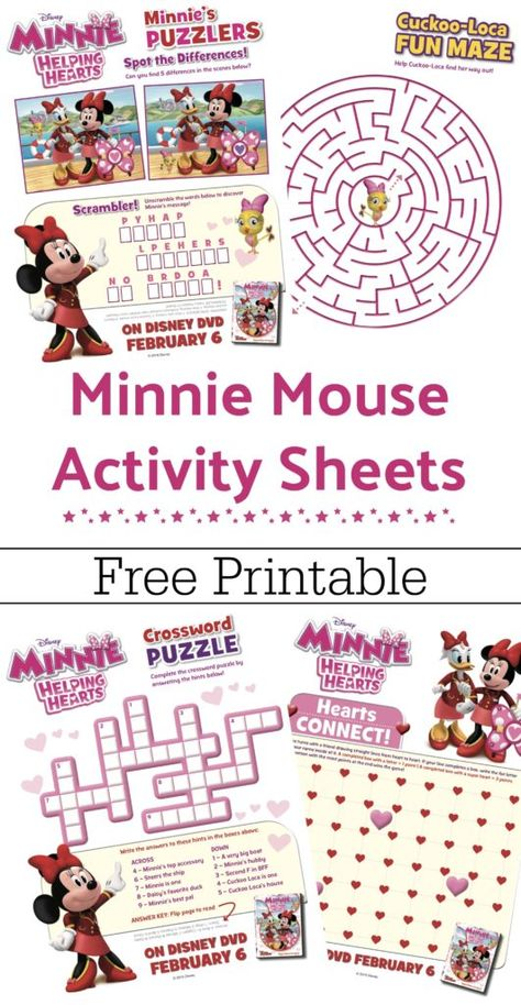 Free Printable Minnie Mouse Activity Sheets Minnie Helping
