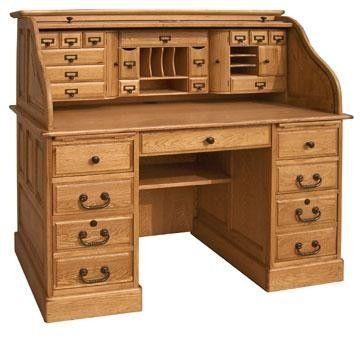 Roll Top Desk Solid Wood Deluxe Executive Oak 54x28x49 Classic Home Office Organizer Muebles De Madera Escritorio De Madera Y Escritorios Antiguos