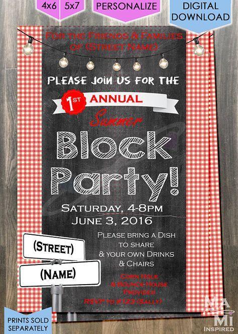 Block Party Invitation Digital File Party Invite Template Block Party Invitations Bbq Party Invitations