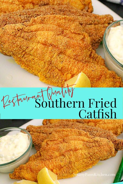 Easy Southern Fried Catfish recipe that is restaurant-quality! No big mess! Ready in or less! Make this Southern classic fried catfish tonight! Southern Fish Fry Recipe, Southern Fried Catfish, Southern Recipes, Southern Meals, Best Fish Recipes, Seafood Recipes, Mexican Food Recipes, Hawaiian Recipes, Fried Catfish Recipes