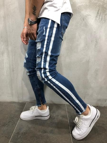 Mens Spring Solid Stripe Jeans Skinny Denim Ripped Slim Zip Pants