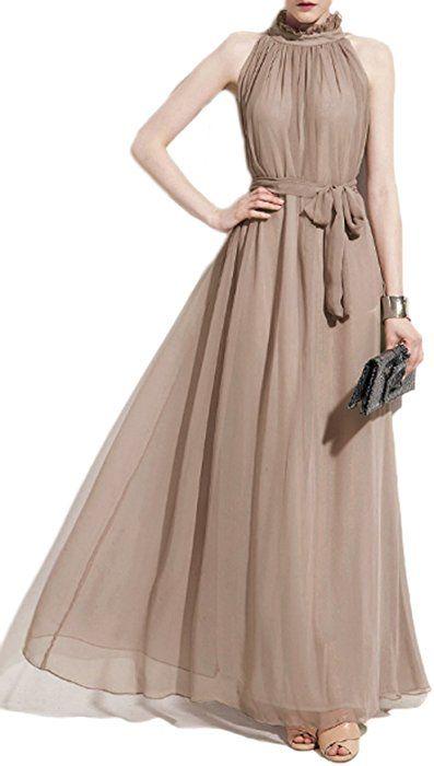 S//M M//L Women/'s Halter Neck Chiffon Long Maxi Dress