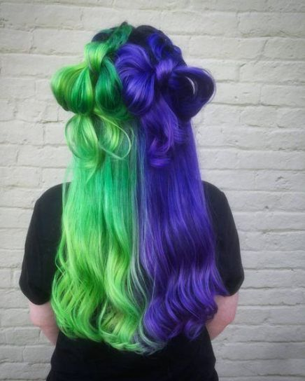 Best Hair Green And Purple Ideas Hair Split Dyed Hair Split