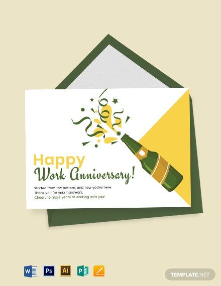 Happy Work Anniversary Card Template Word Doc Psd Apple Mac Pages Illustrator Publisher Work Anniversary Cards Work Anniversary Anniversary Cards