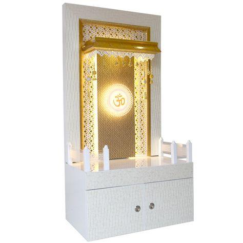 Latest Wooden Mandir 5 Feet Height With Wall Decor Living Room Modern Temple Design For Home Pooja Room Door Design
