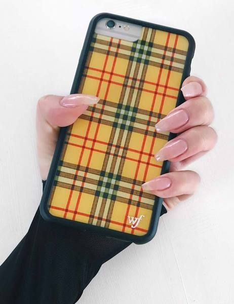 size 40 a2187 95428 Yellow Plaid iPhone 6+/7+/8+ Plus Case in 2019 | nayla | Pink phone ...