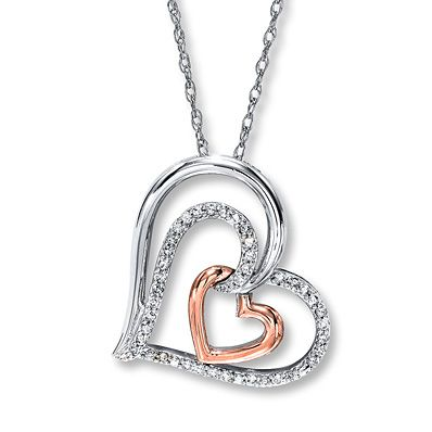 JewelExcess 1//5 Carat T.W Blue and White Diamond Sterling Silver Heart Pendant
