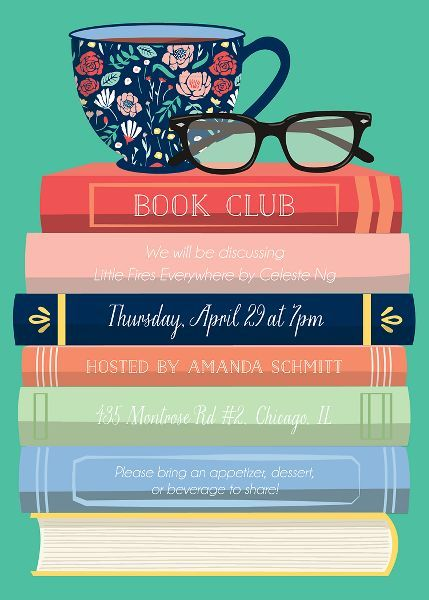 Book Club Invitation In 2020 Book Club Parties Book Club Meeting Online Book Club
