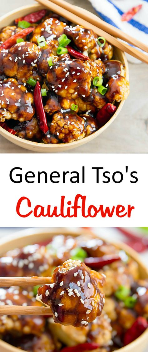 General Tso's Cauliflower | Kirbie's Cravings | A baked, low-carb and healthier version of the original!