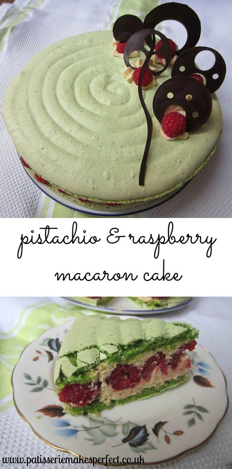 A pistachio and raspberry macaron cake, with pistachio cream and fresh raspberries.   Patisserie Makes Perfect