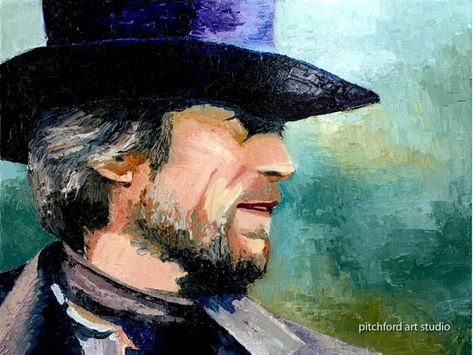 Original Painting of Clint Eastwood as the character in the movie Pale Rider 452b5990b12