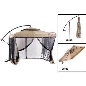 Exceptionnel Vented Patio Umbrella | Tan Instant Gazebo Offset Patio Umbrella W Mesh Is  An Offset Umbrella