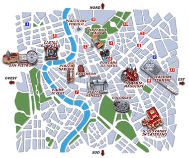 Download a printable Rome tourist map showing the best sights and