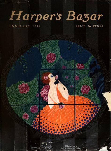 Harper's Bazar, January 1921. Design by Erté. Art nouveau, fashion