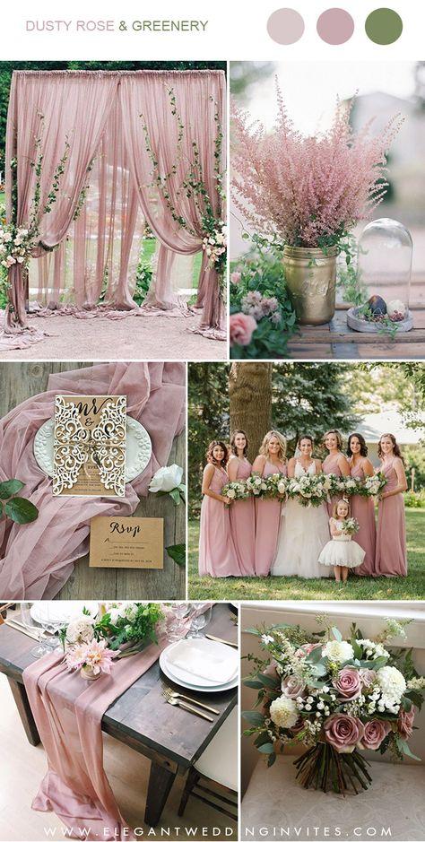 dusty rose and greenery wedding color combos #weddingcolors #ElegantWeddingInvites