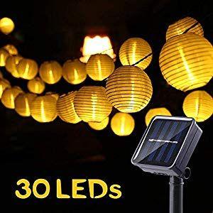 30 LED Solar Lichterkette Lampion Wasserdicht 5M Außen Garten Beleuchtung Party