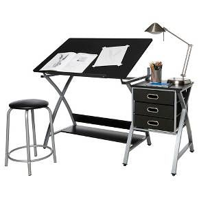 Onespace 50 Cs03 Craft Station With Stool In Black And Silver