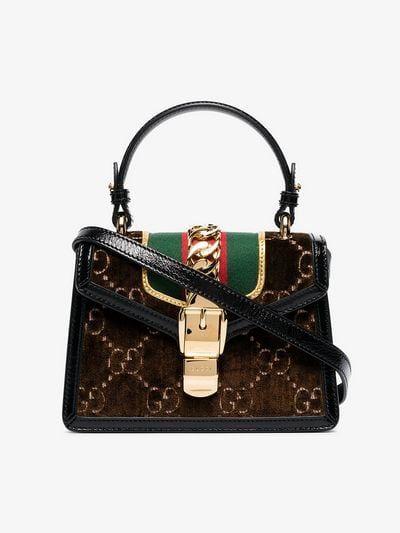 396d93751074f Gucci black and brown sylvie mini velvet shoulder bag