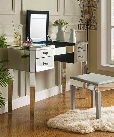 Look What I Found On Zulily Mirrored Demetria Flip Top Led Light Up Vanity Table Zulilyfinds Mirrored Vanity Table Vanity Table Makeup Vanity With Drawers