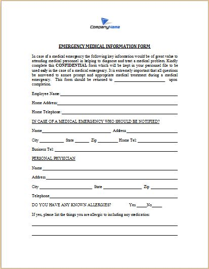 medical emergency information form template at http\/\/www - medical leave form