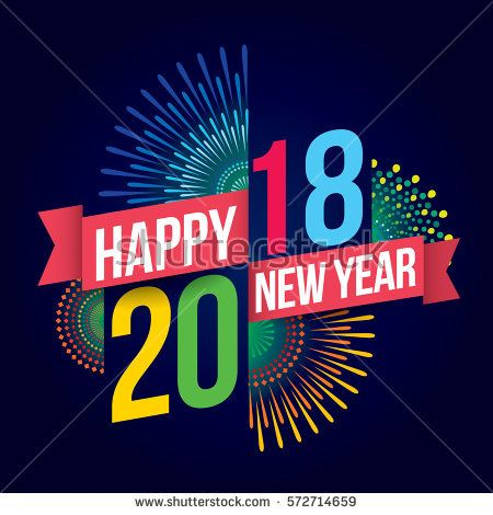 vector illustration of colorful fireworks happy new year 2018 theme