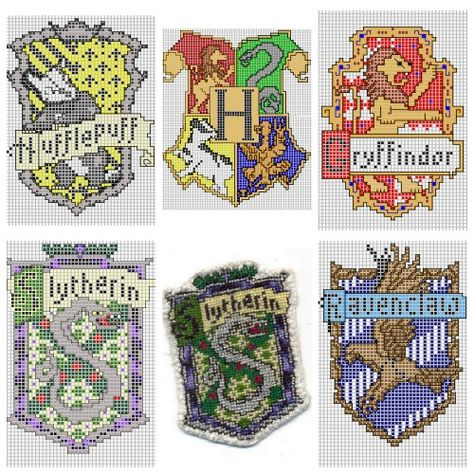 DIY Cross Stitch Charts for Hogwart Houses by Ronjaliek on Deviantart. Do you know someone who loves anything Harry Potter? Ronjaliek links the finished patches in each post. Top Row: Hufflepuff, Hogwart Houses, Gryffindor Bottom Row: Slytherin, FInished Slytherine Badge, Ravenclaw For everything DIY Harry Potter go here including an amazing DIY Harry Potter Monopoly Game and DIY Harry Potter Chess Set. | http://Biltong.Ninja