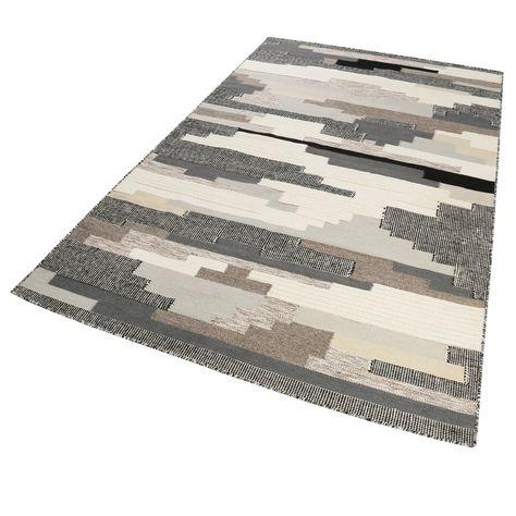 Esprit Kurzflor Kelim Teppich aus Wolle » Natham « beige taupe