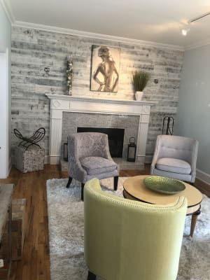 Reclaimed Weathered Wood White White Paneling Weathered Wood Indoor Fireplace