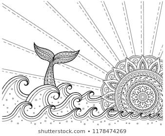 Whale Diving Into Sea Against The Sunset Coloring Book Page Antistress Ocean Landscape With Waves Mand Ocean Coloring Pages Coloring Book Pages Sunrise Art