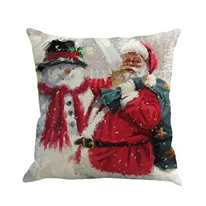 Amazon Com Throw Pillow Covers E Scenery Clearance Sale Santa Claus Christmas Printing S Sofa Pillow Covers Christmas Cushion Covers Decorative Pillow Cases