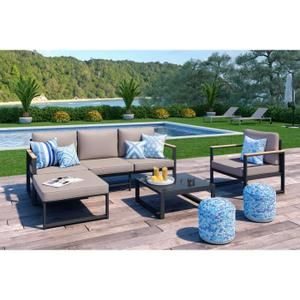 LOUNGITUDE Salon de jardin 4 places en aluminium - Gris ...