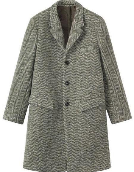 95959d031 Mens Herringbone Tweed 65% Wool full length Gray ~ Grey Overcoat ...
